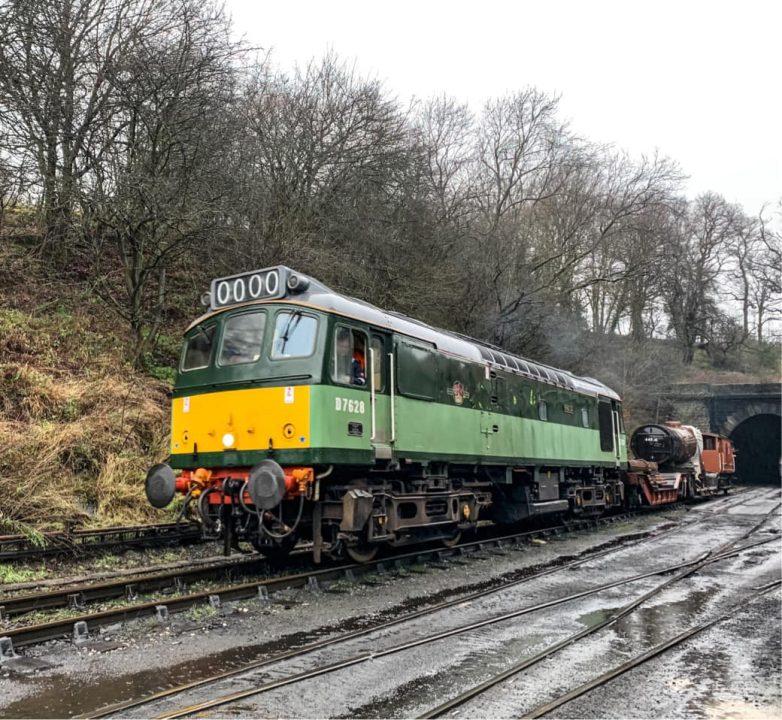Boiler for 44806 leaves Grosmont on the North Yorkshire Moors Railway