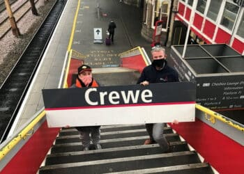 Winner of Crewe railway sign auction