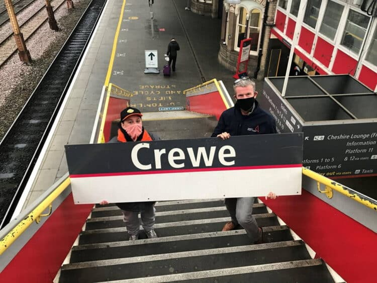 Winner of Crewe railway sign auction