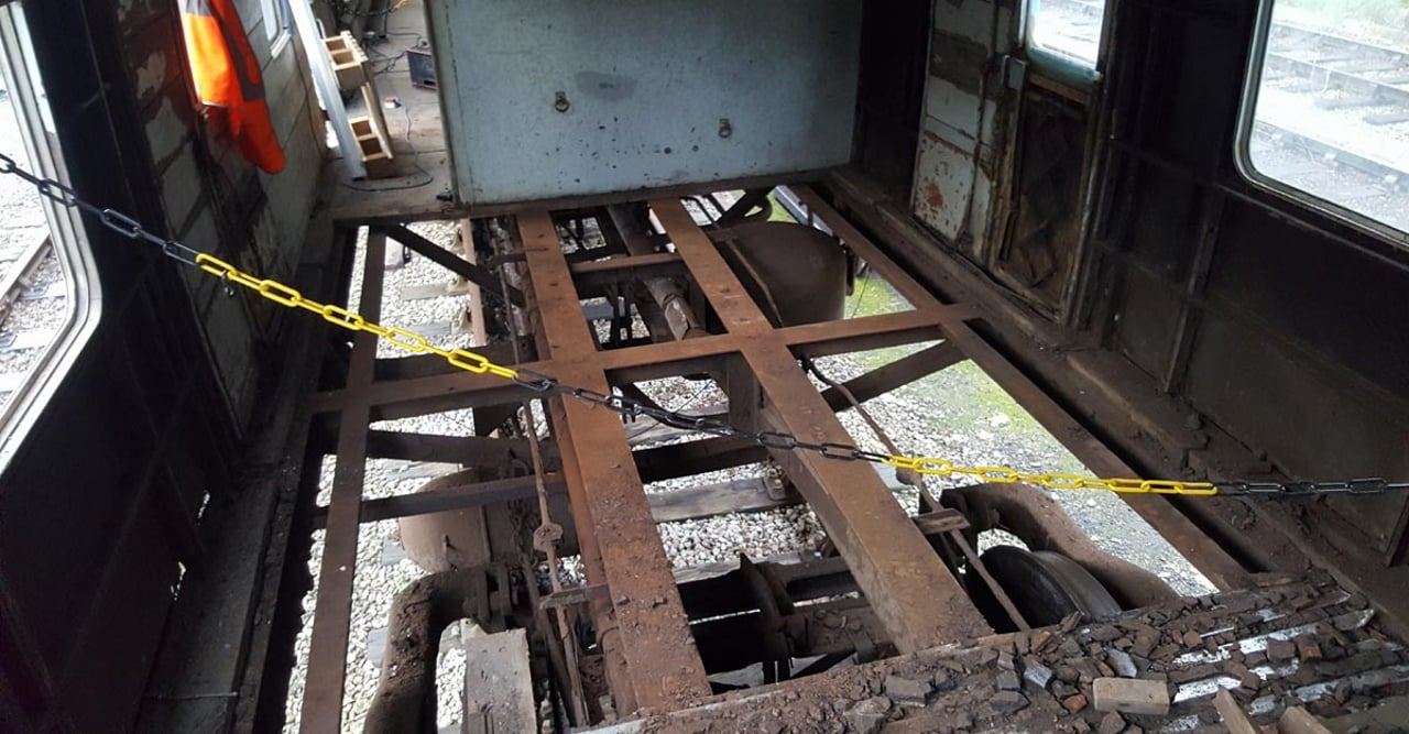 Rotten floor removed from BSK coach at the Keighley and Worth Valley Railway
