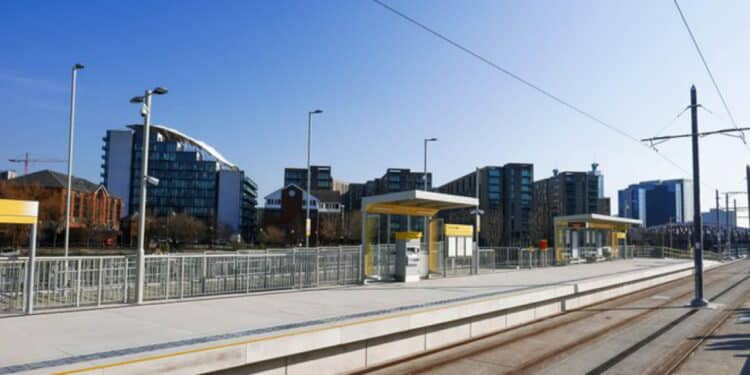 Tram stop in Manchester