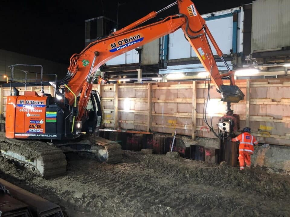 Foundation work at Gatwick Airport station on platform 5 and 6