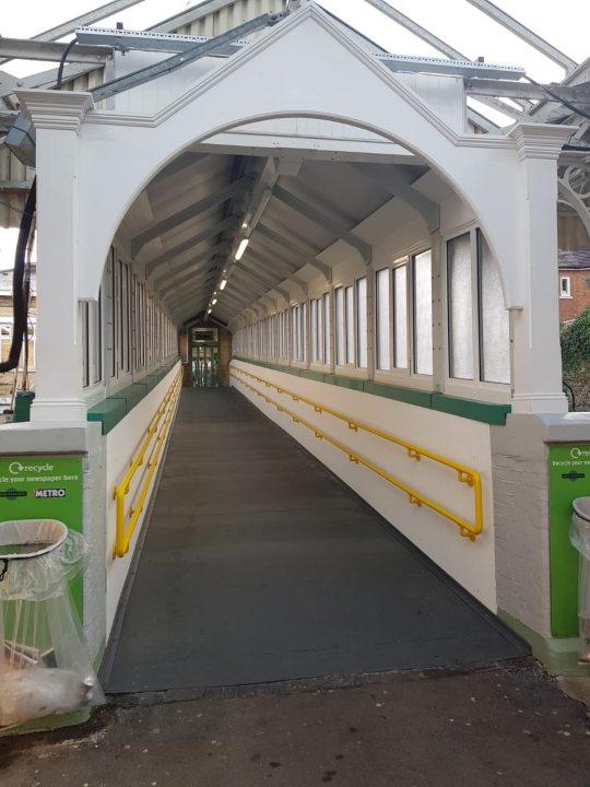 Inside Caterham station footbridge