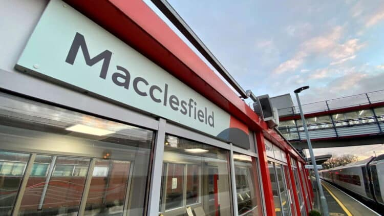 Macclesfield station wide angle sign