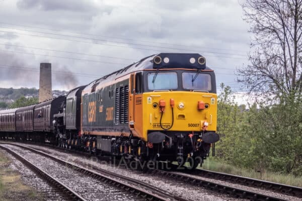 50007 and 75078 on the Keighley and Worth Valley Railway
