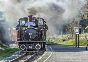 Merddin Emrys and David Lloyd George arrive into Waunfawr on the Welsh Highland Railway