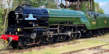 Tornado, reunited with her nameplates, gleams in the sunshine at Carnforth. – Richard Pearson