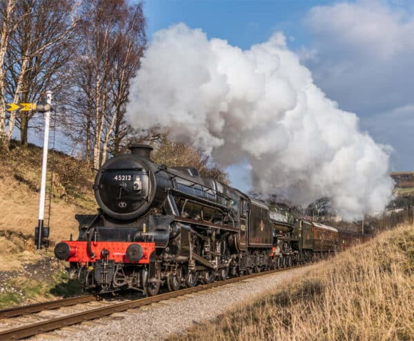 45212 and 45596 bahamas on the Keighley and Worth Valley Railway