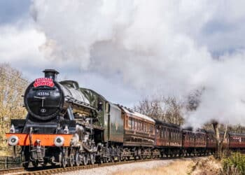 45596 Bahamas steam locomotive on the Keighley and Worth Valley Railway