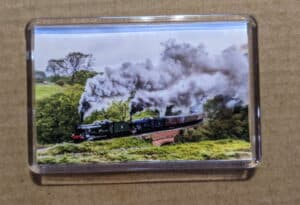Fridge magnet with stand featuring 6990 Witherslack Hall and 6023 King Edward II