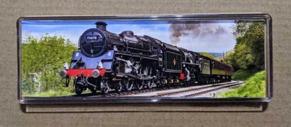 Panoramic fridge magnet with 75078 and 5820 on the Keighley and Worth Valley Railway