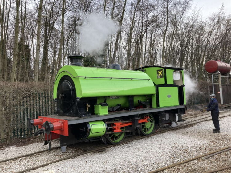 Swanscombe steam locomotive No. 6 being steamed at the Middleton Railway Leeds
