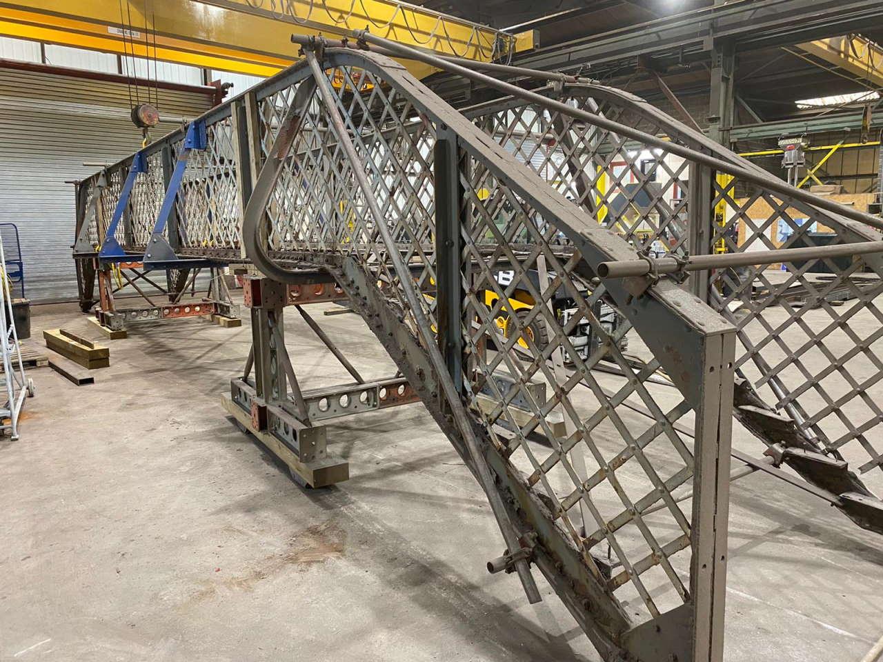 Narborough footbridge repair work after grit blasting