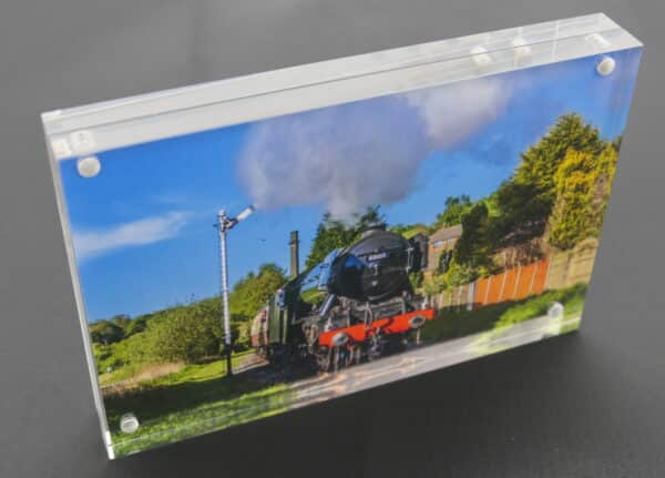Flying Scotsman steam train acrylic frame block