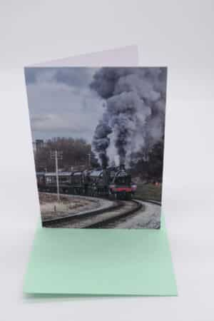 Greetings Card with 78022 and 45596 Bahamas on the Keighley and Worth Valley Railway