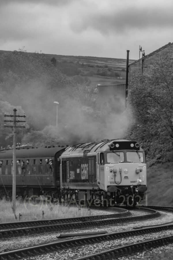50007 at Keighley on the Keighley and Worth Valley Railway