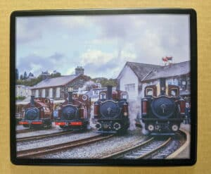 Steam train mouse mat featuring Prince, Princess, Taliesin and Merddin Emrys on the Ffestiniog Railway
