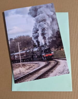 Greetings card featuring steam locomotive 78022 and 45596 Bahamas on the Keighley and Worth Valley Railway