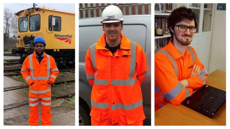 Three Network Rail Apprentices // Credit Network Rail