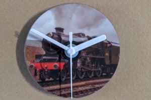 CD Clock featuring steam locomotive 45596 Bahamas on the Keighley and Worth Valley Railway