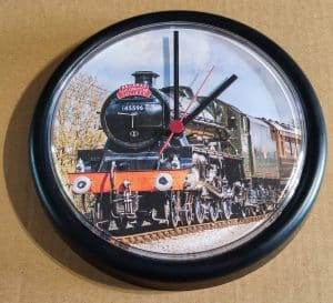 Clock featuring steam locomotive 45596 Bahamas