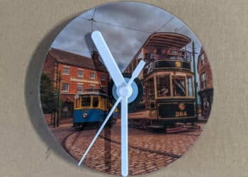 CD Clock featuring the trams at Beamish