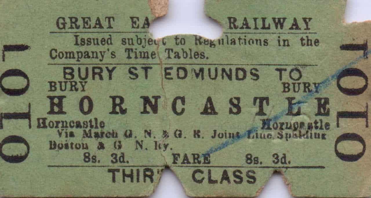 : interest in the Horncastle branch remains strong, evidenced by the price realised on Ebay last month for this rather battered Great Eastern Railway ticket from Bury St. Edmunds to Horncastle, issued for 8s. 3d prior to 1923. It sold for £32.