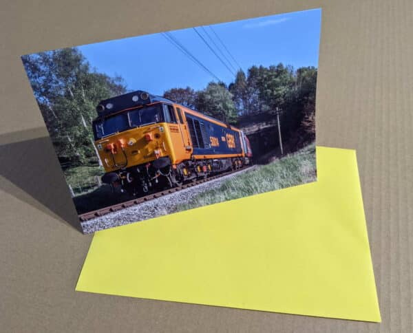 Greetings card with 50007 on the Keighley and Worth Valley Railway