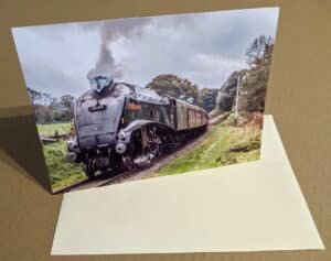 Greetings card featuring steam locomotive 60009 Union of South Africa on the East Lancashire Railway