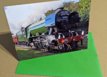 Greetings card featuring steam locomotive 60103 Flying Scotsman on the East Lancashire Railway
