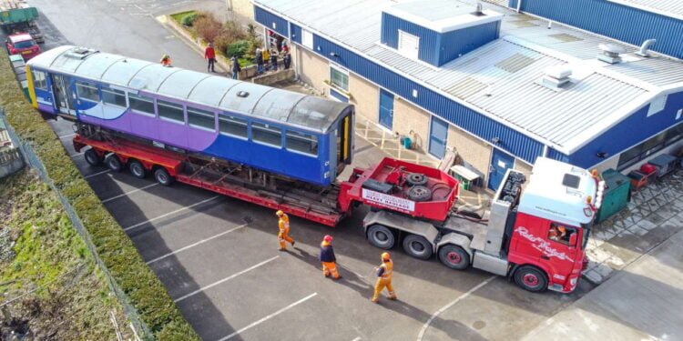 Pacer train arrives at Fagley Primary School in Bradford
