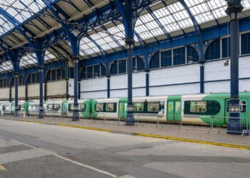 This Class 313 Coastway train is being used for Covid testing of Southern and Thameslink staff at Brighton station