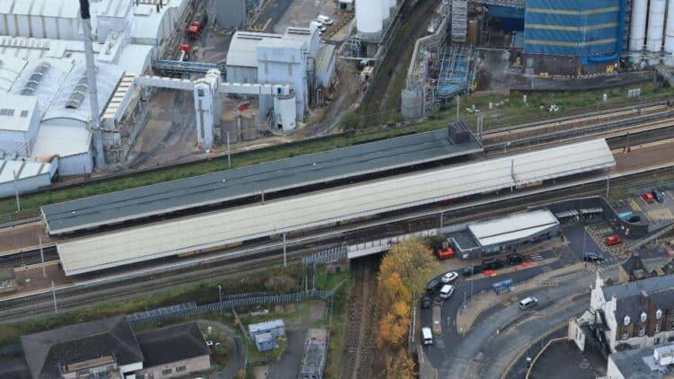 Warrington Bank Quay station aerial picture