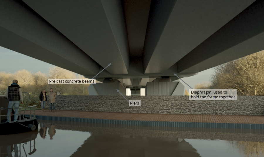 Artists-impression-of-the-underside-of-the-Oxford-Canal-Viaduct-with-a-smooth-concrete-finish-on-the-piers-Option