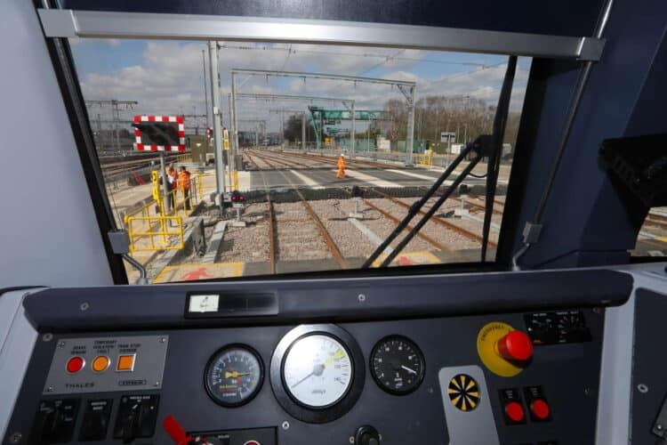 Brent Cross West March 2021 lxxxvi View from cab of train parked in new sidings