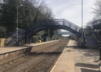 Refurbished footbridge at Cottingham station