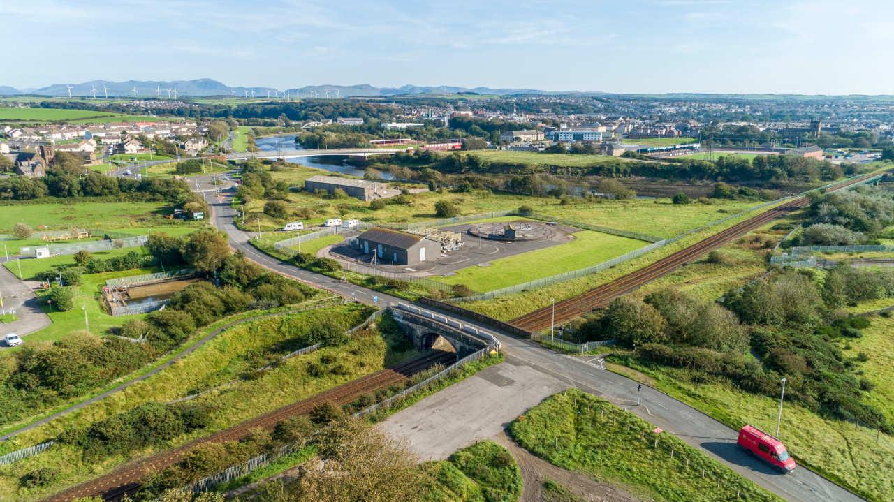 Drone shot of existing Siddick Bridge serving the Port of Workington summer 2020