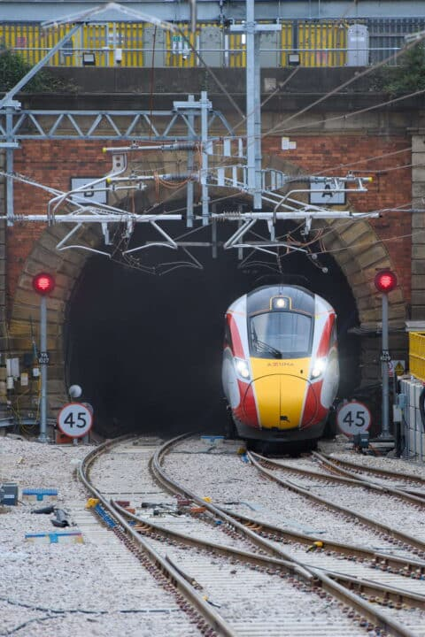 LNER first Azuma passenger train through newly reopened tunnel at London King's Cross