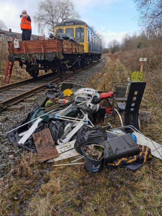 Litter train on the East Lancashire Railway