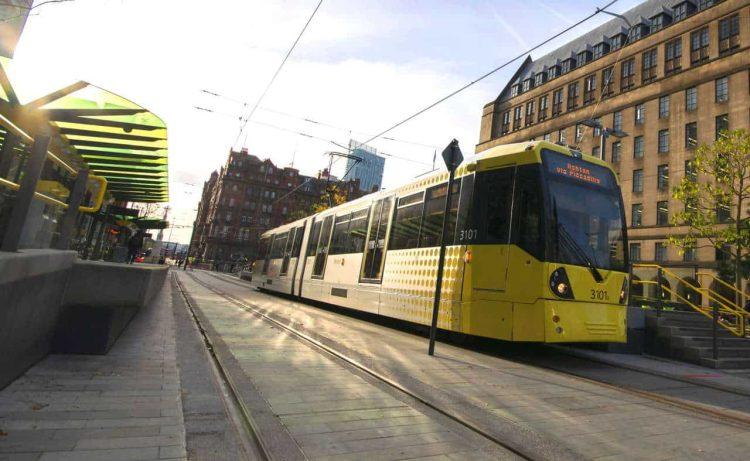 Metrolink tram at St Peter's Square stop