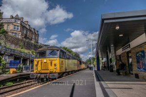 Colas Railfreight Class 56 locos pass through Burnley Manchester Road
