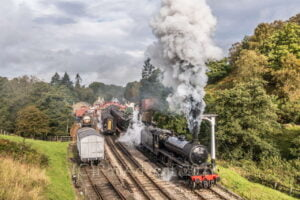 LNER K1 No. 62005 departs Goathland, North Yorkshire Moors Railway