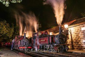 Palmerston and Merddin Emrys stand at Minffordd, Ffestiniog Railway