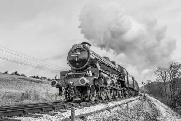 45596 Bahamas heads away from Damems Junction, Keighley and Worth Valley Railway