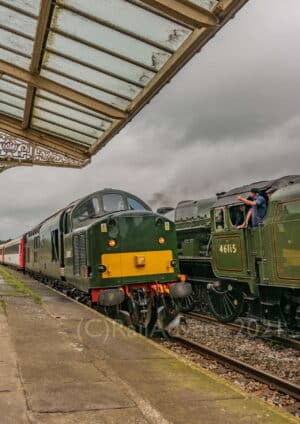BR Class 37 37521 passes through Hellifield - Staycation Express