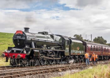 45562 Alberta takes on water at Hellifield with The Waverley