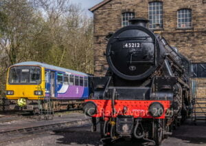 LMS Black 5 45212 and Pacer 144011 at Haworth MPD