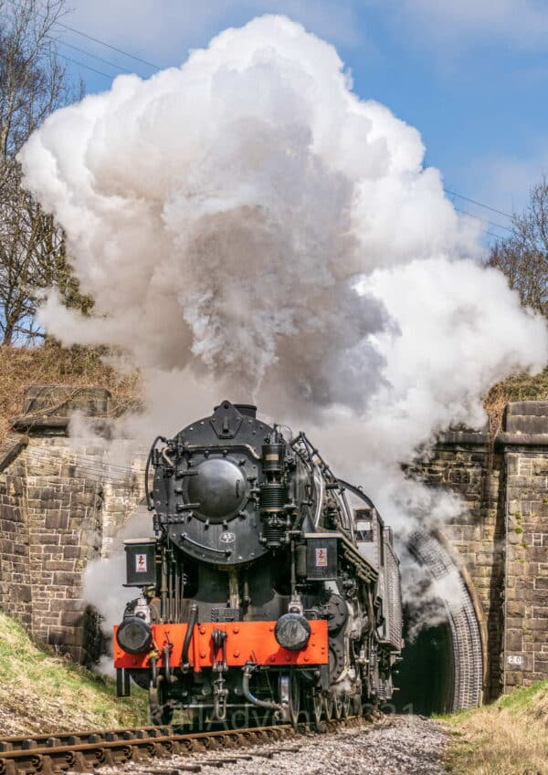 5820 'Big Jim' steams out of Mytholmes Tunnel towards Haworth