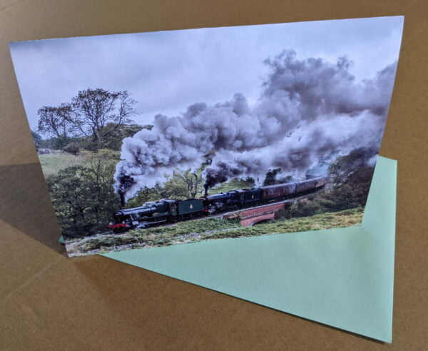 Greetings card with steam locomotive 6990 Witherslack Hall and 6023 King Edward II on the North Yorkshire Moors Railway