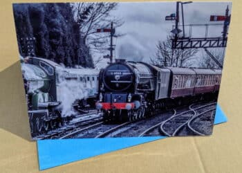 Greetings card featuring steam locomotive 60163 Tornado on the Severn Valley Railway